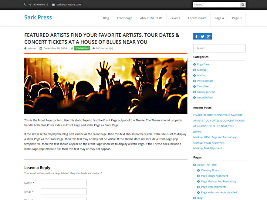 Sark Press free wordpress theme