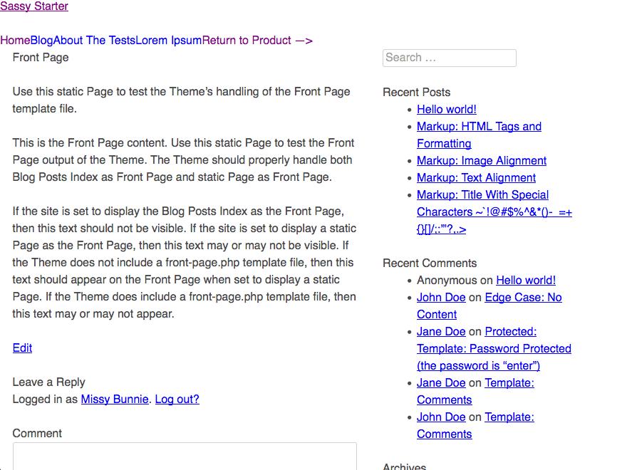 Sassy Starter free wordpress theme
