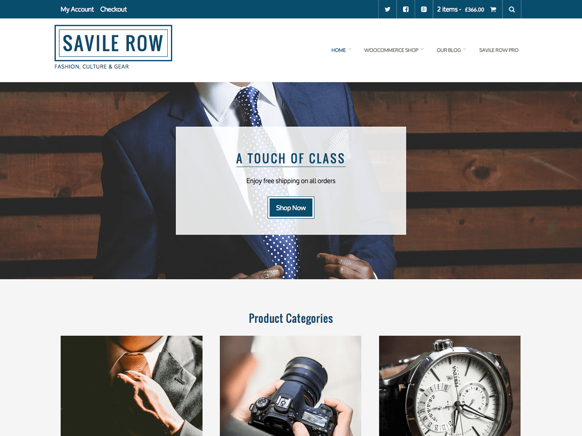 screenshot of Savile Row free WooCommerce theme