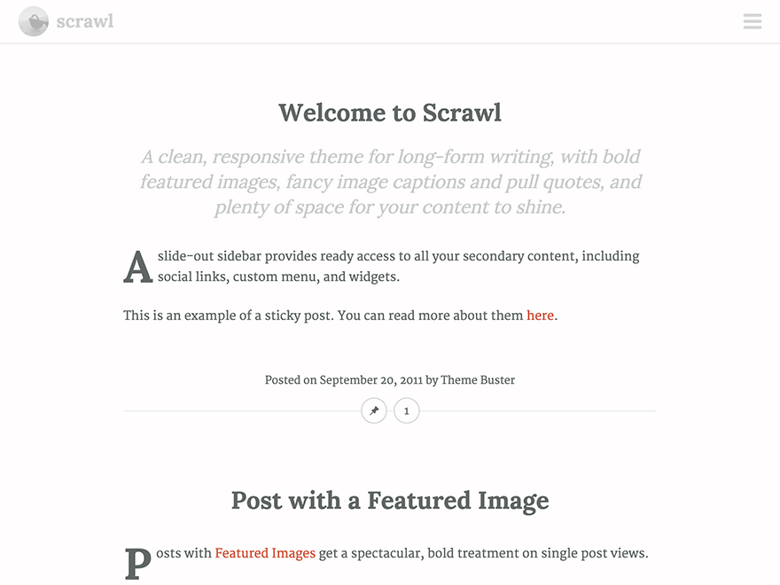 Scrawl free wordpress theme