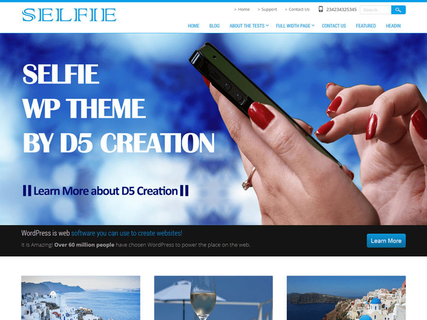 Selfie free wordpress theme
