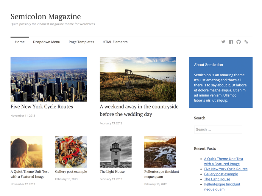 Semicolon free wordpress theme