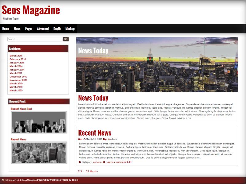 Seos Magazine free wordpress theme