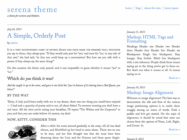 Serena free wordpress theme