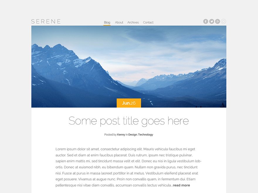 Serene free wordpress theme