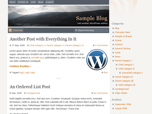 Serenity free wordpress theme
