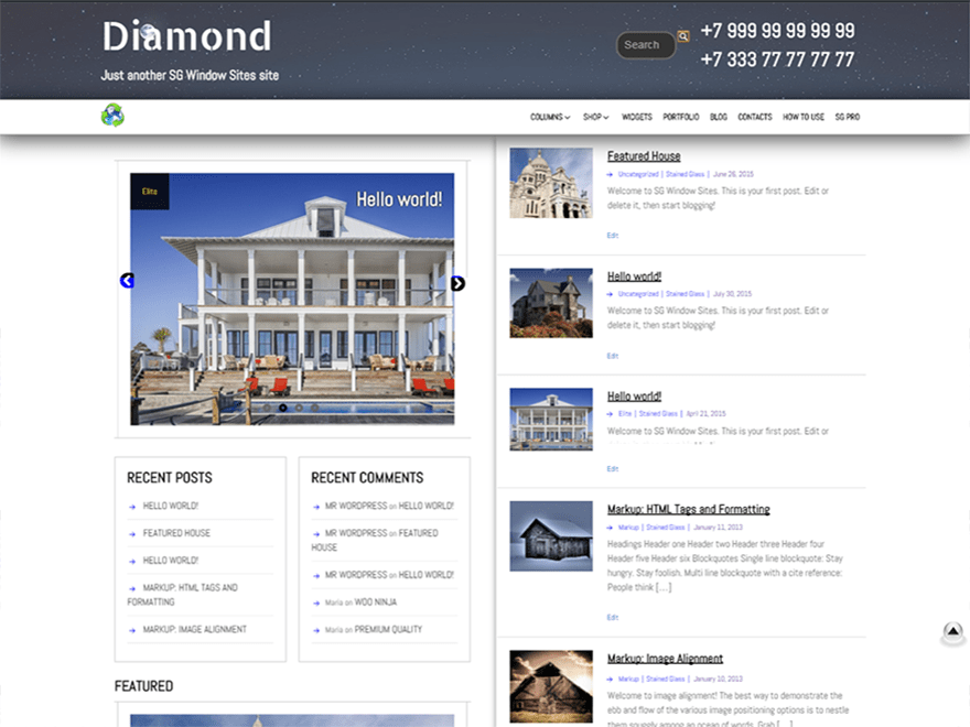 screenshot of SG Diamond free WooCommerce theme