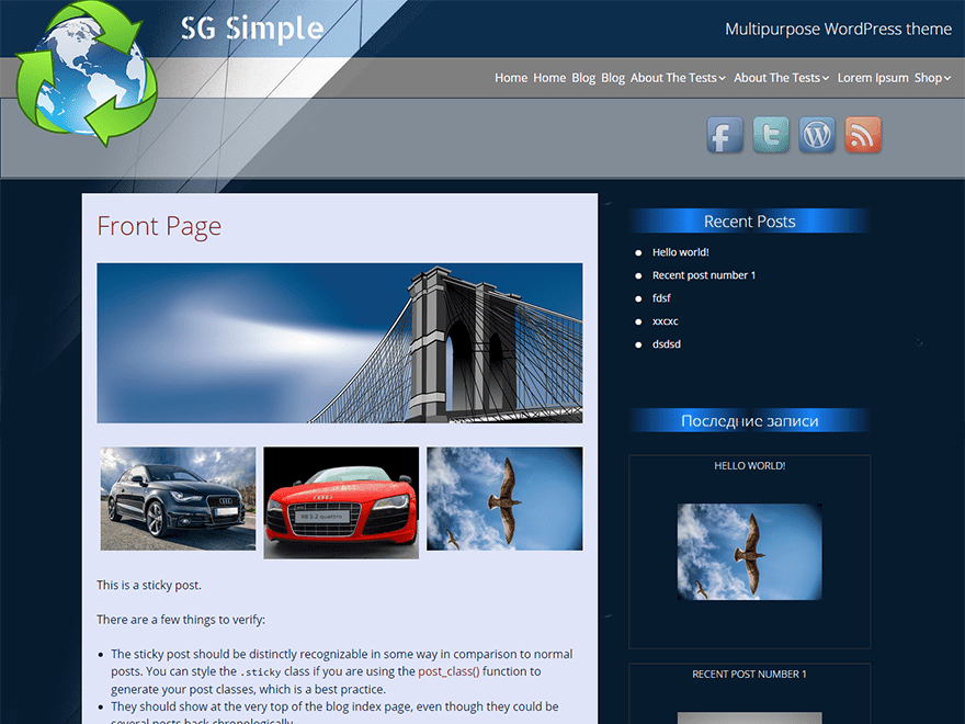 SG Simple free wordpress theme