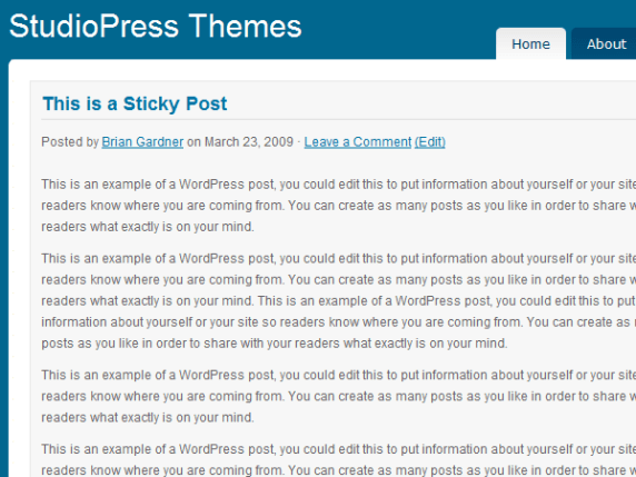 Shades of Blue wordpress theme