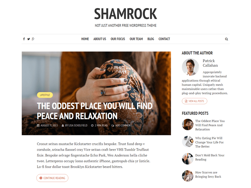 Shamrock free wordpress theme