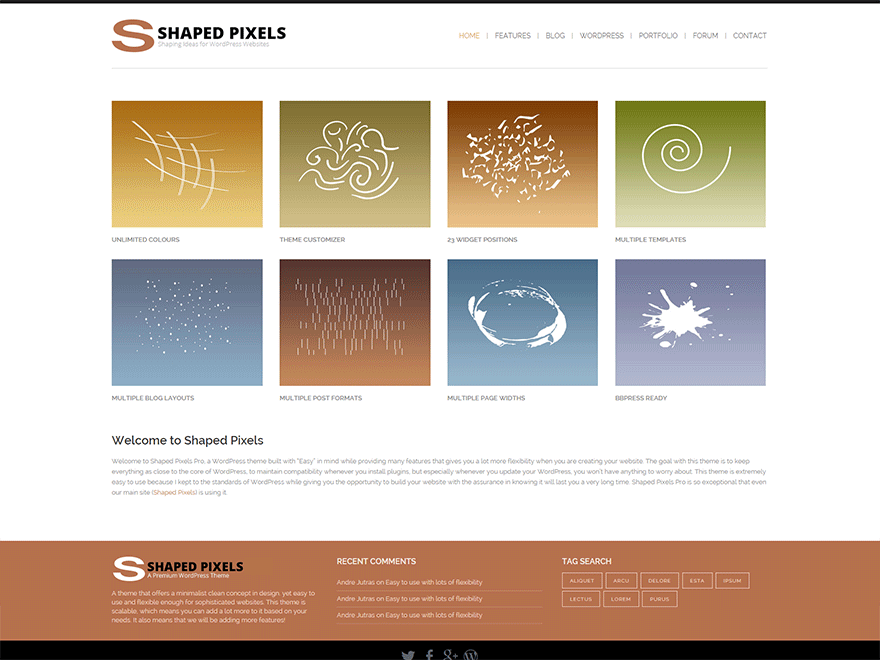 Shaped Pixels free wordpress theme