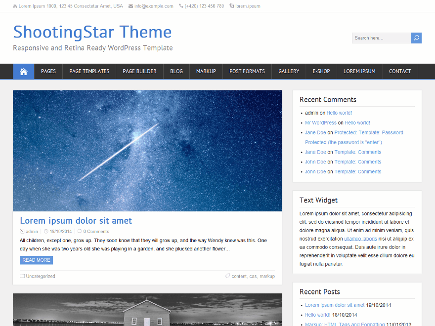 ShootingStar free wordpress theme