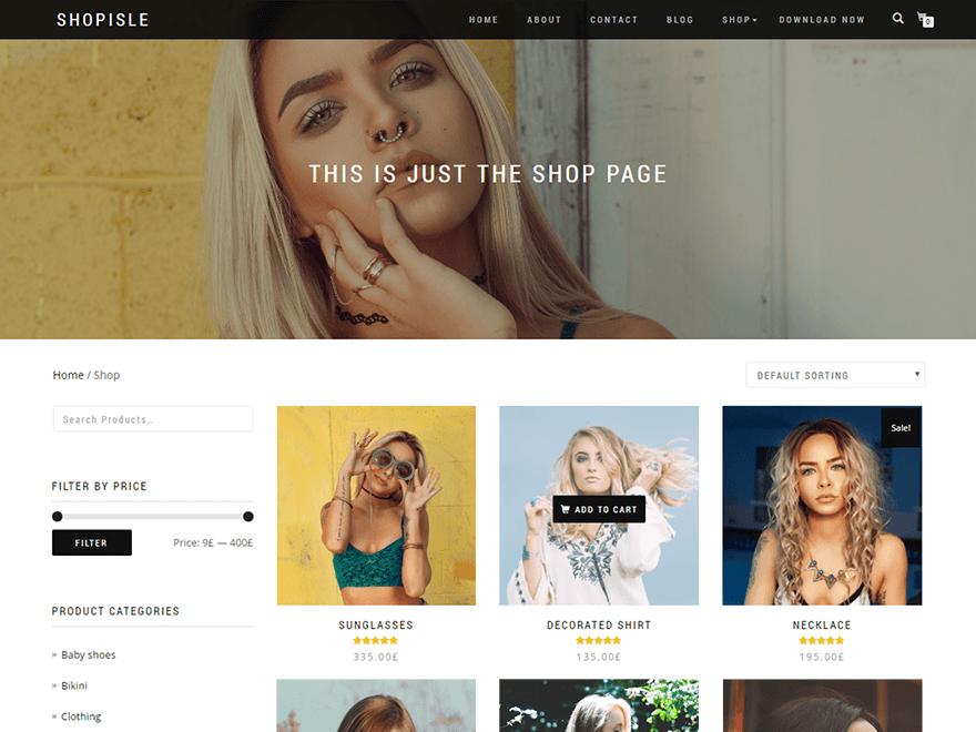 shop isle theme wordpress free