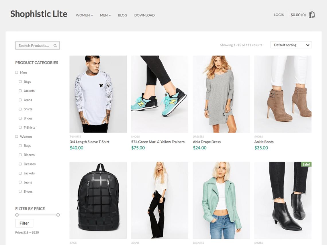 Shophistic Lite ecommerce wordpress theme