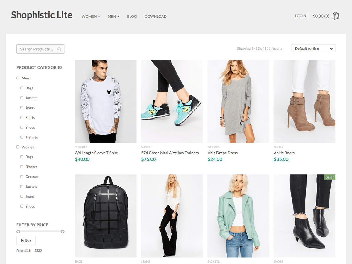 screenshot of Shophistic Lite free WooCommerce theme
