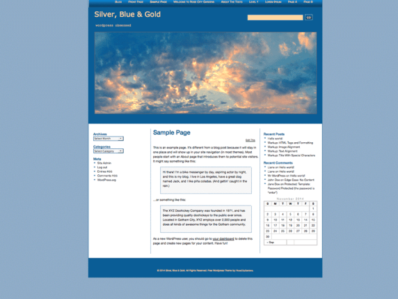 Silver, Blue & Gold wordpress theme