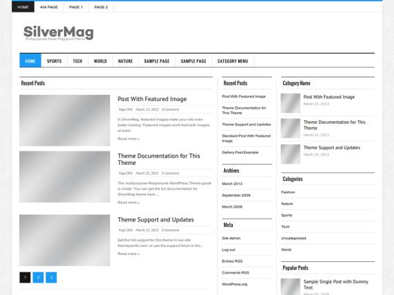 Silver Mag Lite wordpress theme
