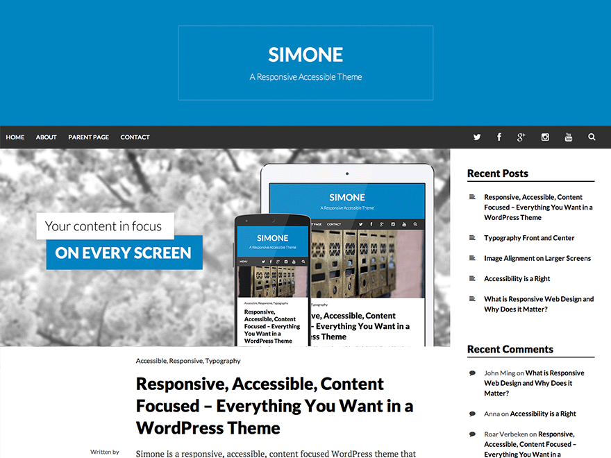 Simone free wordpress theme