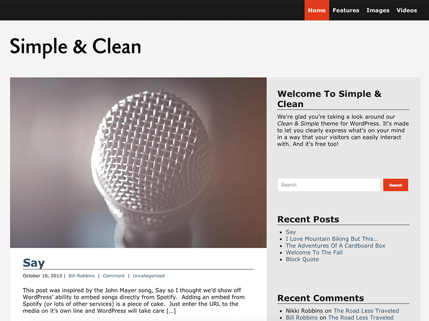 Simple and Clean free wordpress theme