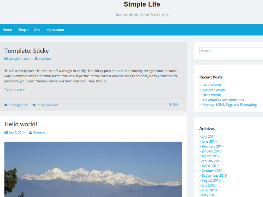 Simple Life free wordpress theme