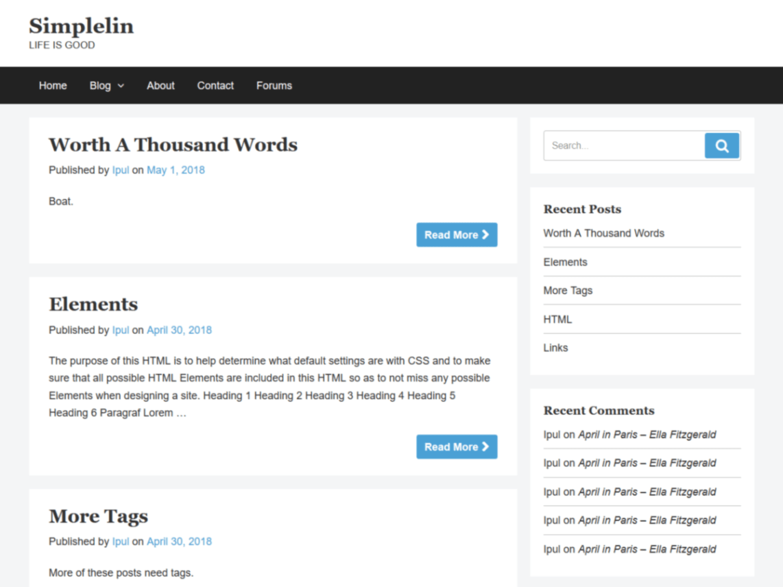 Simplelin Wordpress Theme Wordpressorg