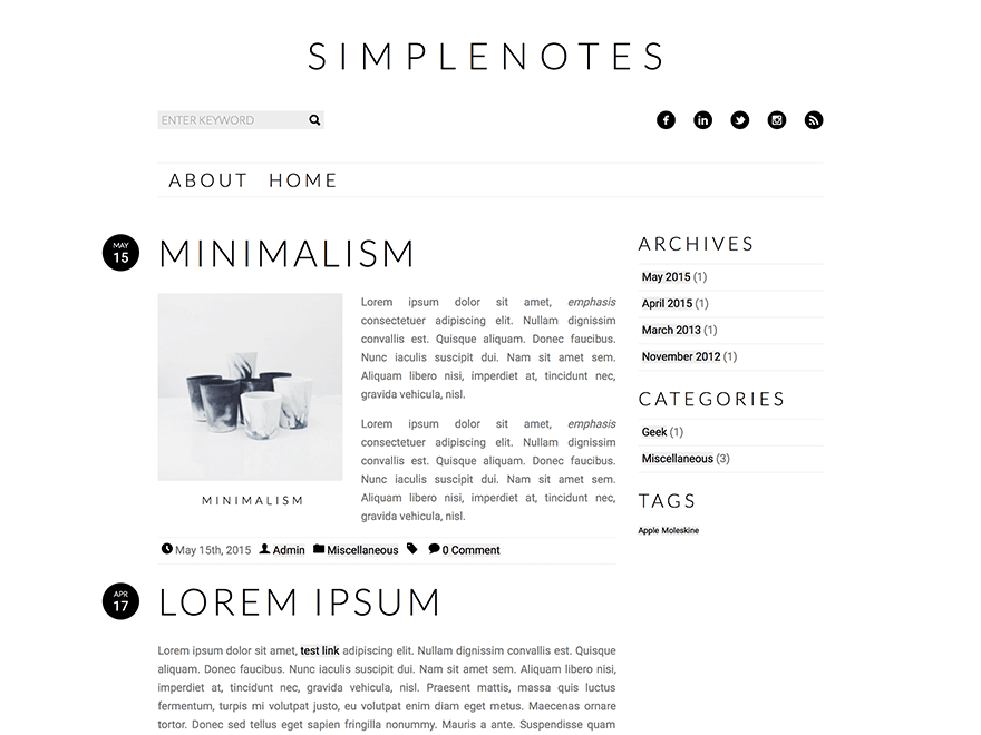 Simplenotes free wordpress theme