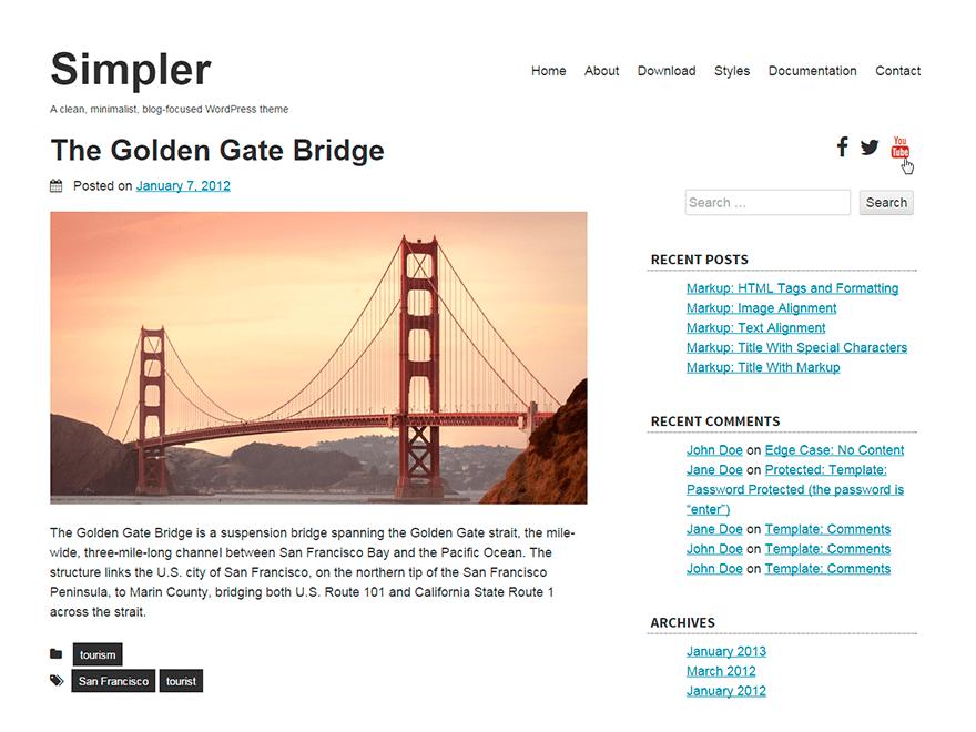simpler free wordpress theme