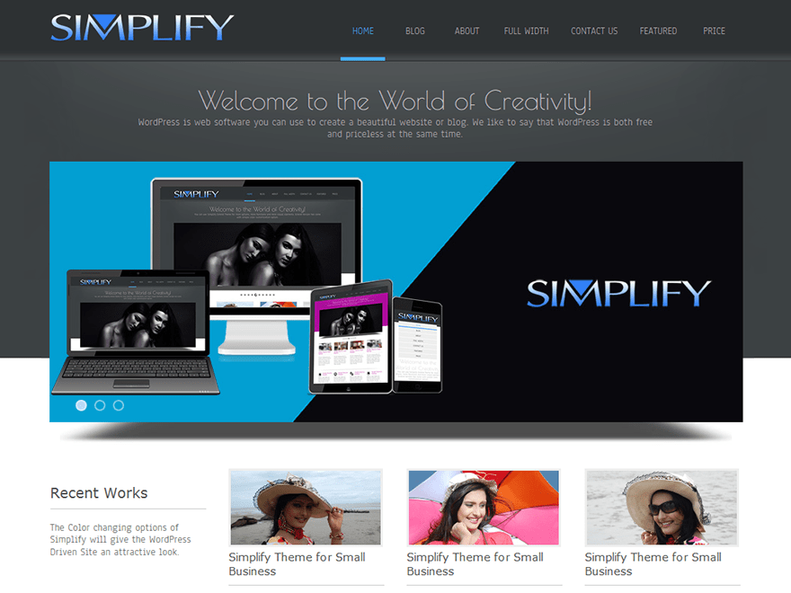 Simplify free wordpress theme