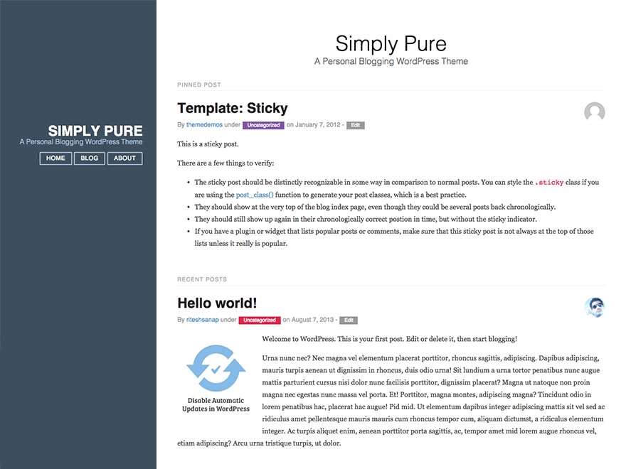 Simply Pure free wordpress theme