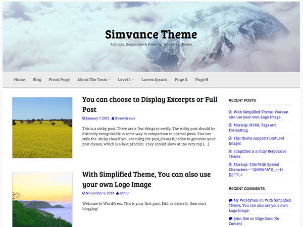 Simvance free wordpress theme