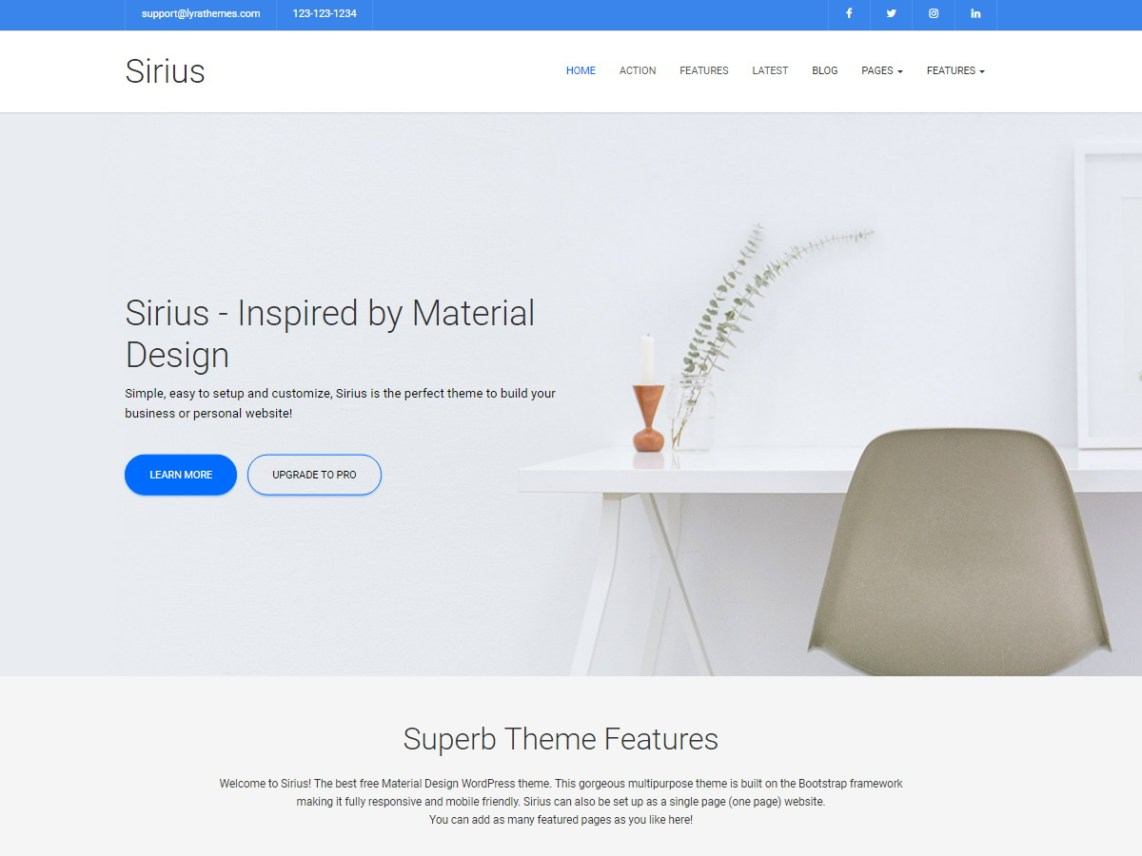 Siruis Lite WordPress Theme by lyrathemes