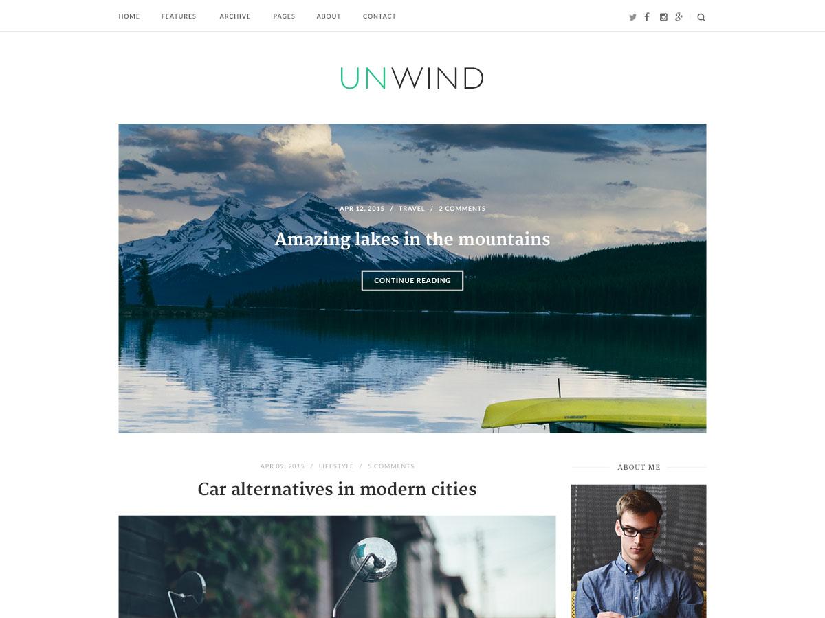 WordPress тема: Unwind