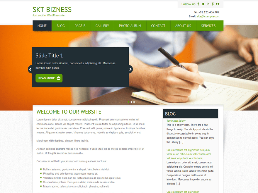 SKT BIZNESS FREE WORDPRESS THEME