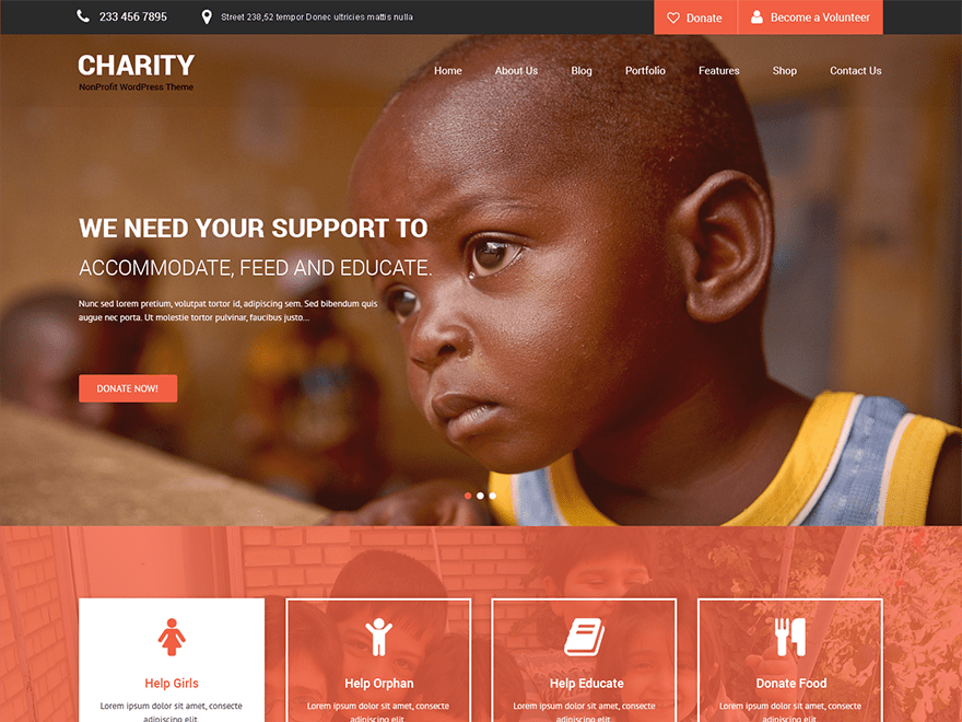 SKT Charity free wordpress theme