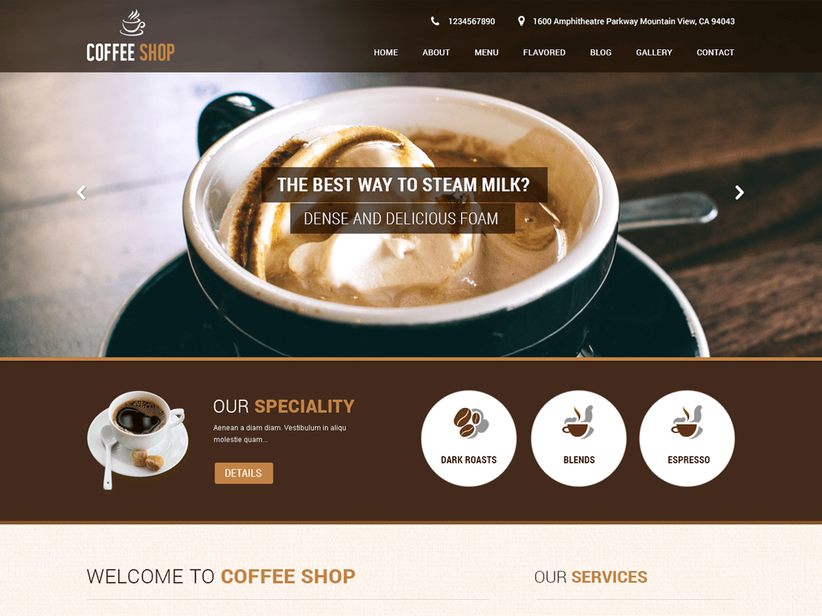Screenshot of SKT Coffee WooCommerce theme