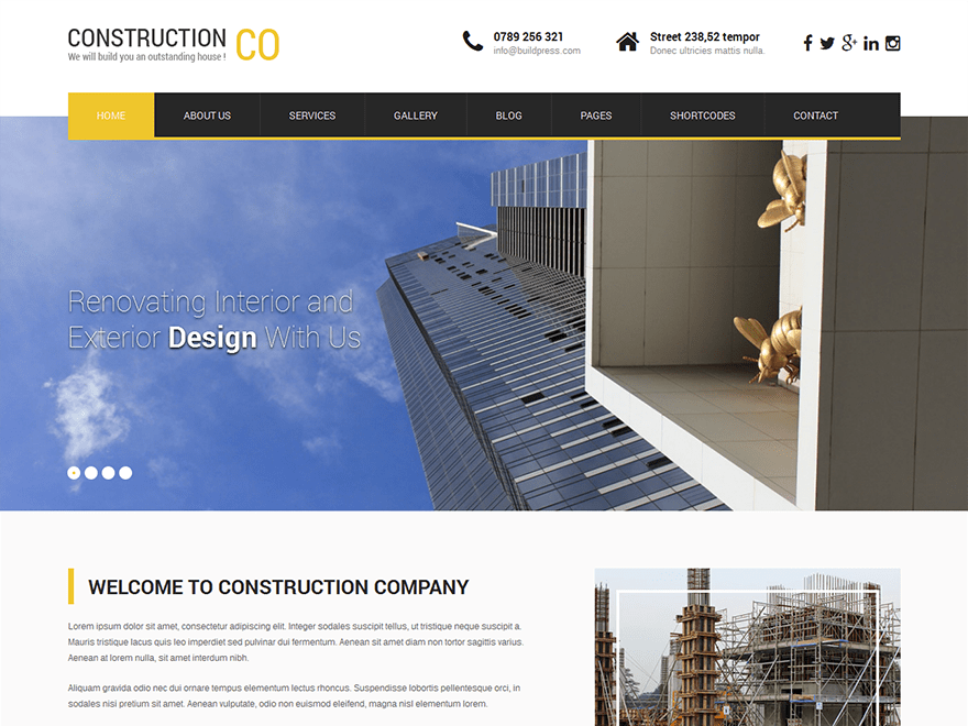 screenshot of SKT Construction Lite WooCommerce theme