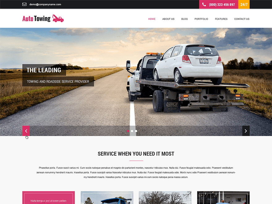 SKT Towing free wordpress theme