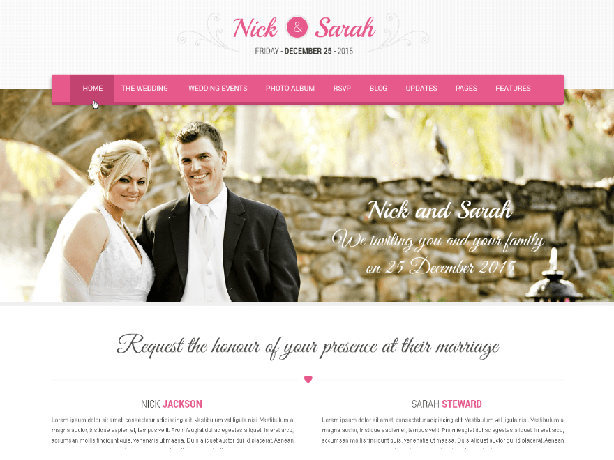 screenshot of SKT Wedding Lite free WooCommerce theme