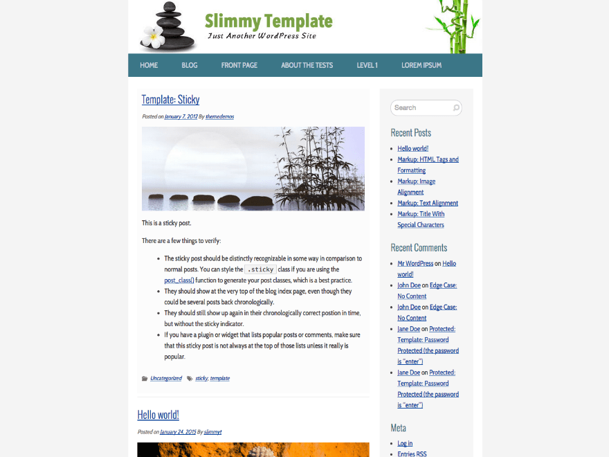 Slimmy free wordpress theme