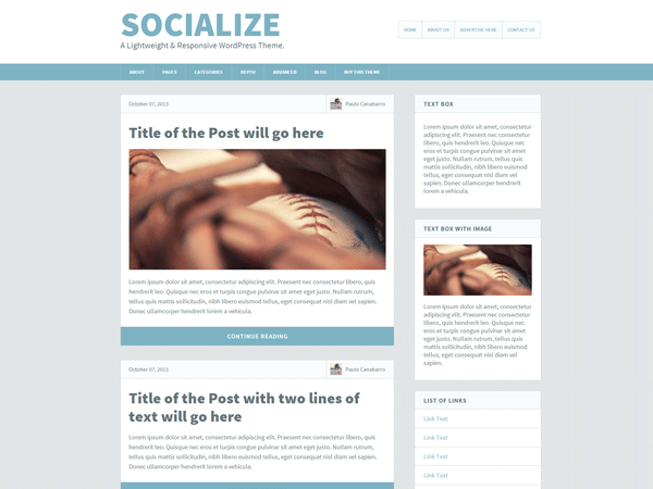 Socialize Lite free wordpress theme