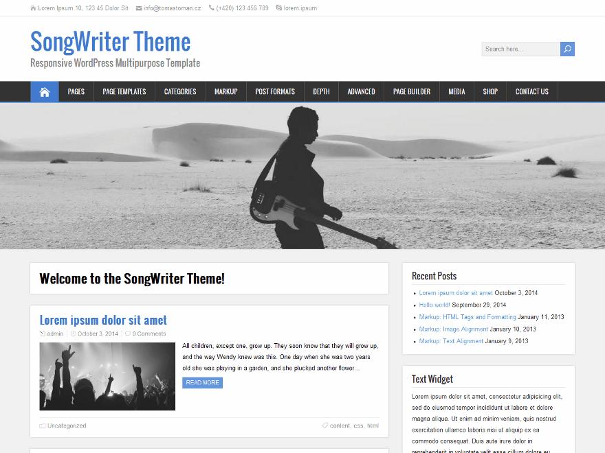 SongWriter free wordpress theme