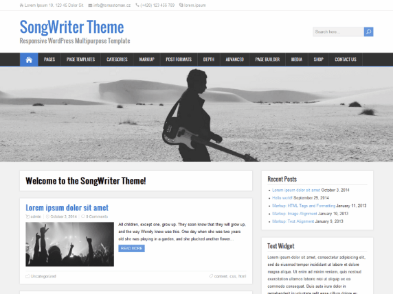 SongWriter wordpress theme