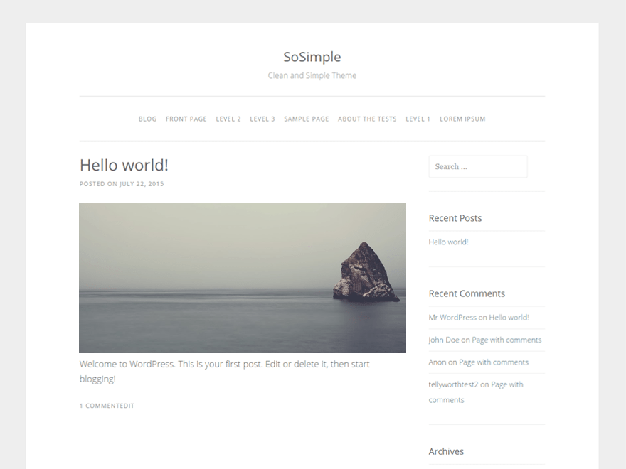 SoSimple free wordpress theme