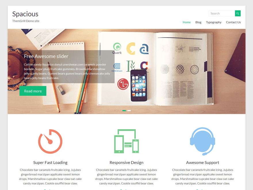 screenshot of Spacious WordPress theme