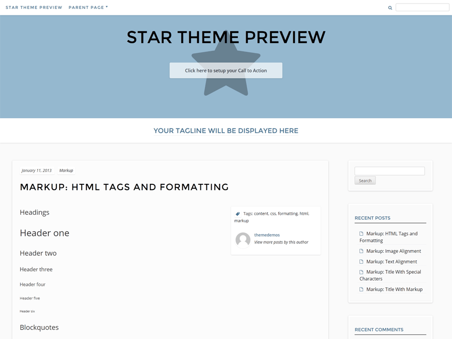 Star free wordpress theme