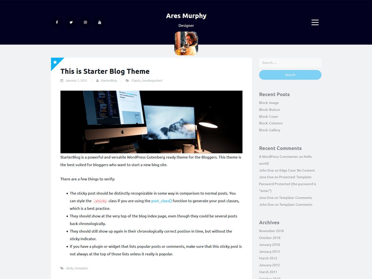 WordPress主题:Starter Blog
