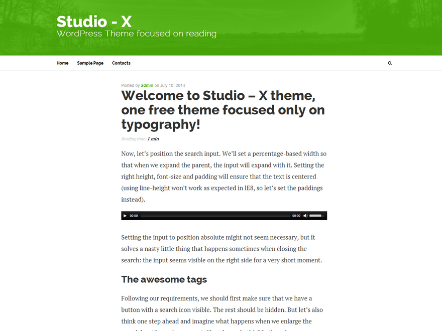 Studio-X free wordpress theme