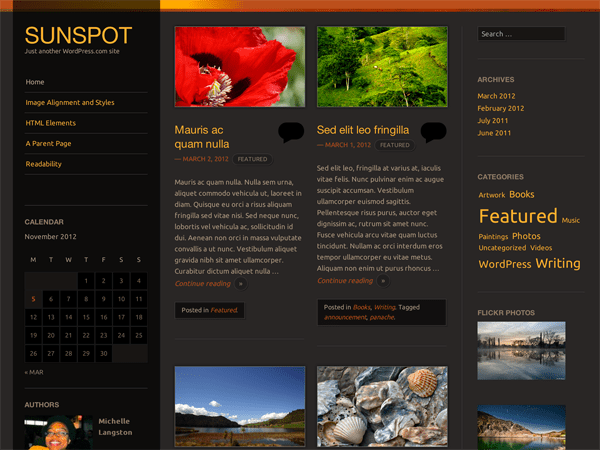 Sunspot free wordpress theme
