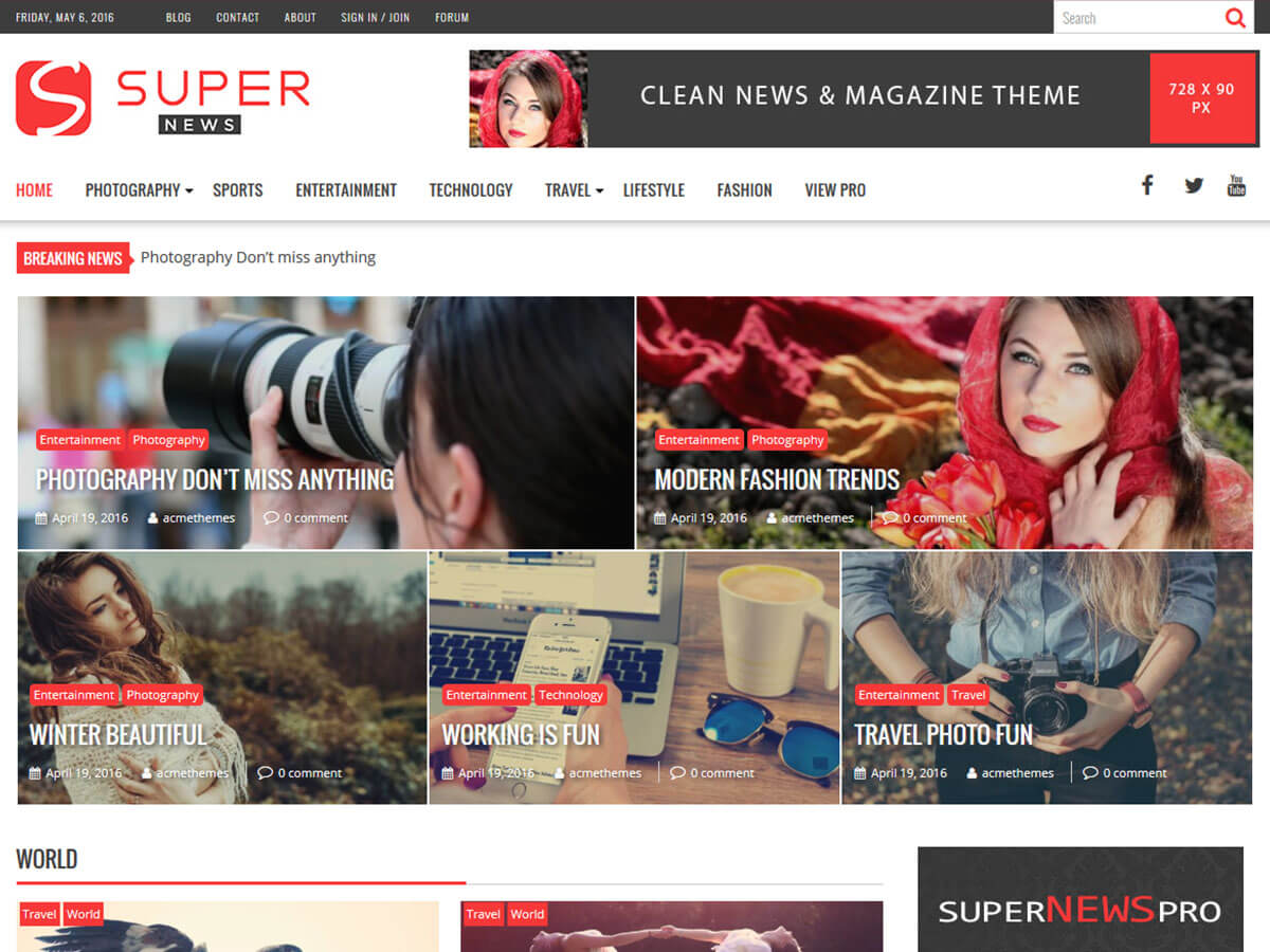 SuperNews free wordpress theme