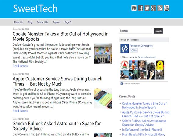 Sweet Tech theme wordpress gratuit